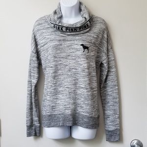 VS Pink Heathered Gray High Cowl Neck Pullover